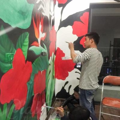 Vẽ Tranh Tường Phòng Khách - Tropical Floral 2