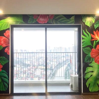Vẽ Tranh Tường Phòng Khách - Tropical Floral 12