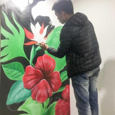 Vẽ Tranh Tường Phòng Khách - Tropical Floral 3