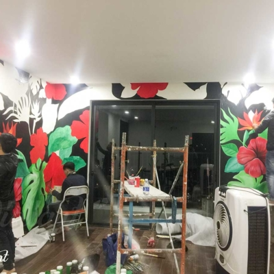 Vẽ Tranh Tường Phòng Khách - Tropical Floral 4