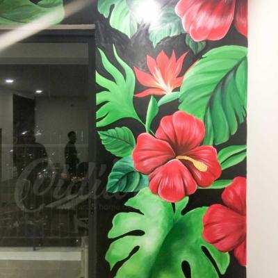 Vẽ Tranh Tường Phòng Khách - Tropical Floral 6