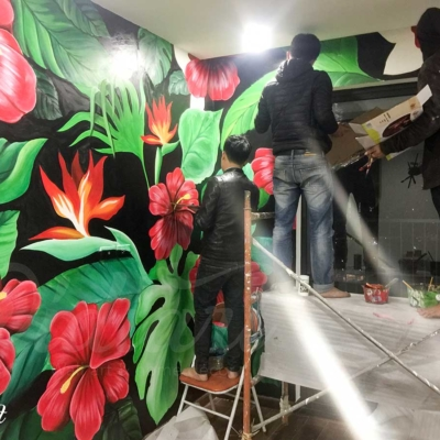 Vẽ Tranh Tường Phòng Khách - Tropical Floral 7