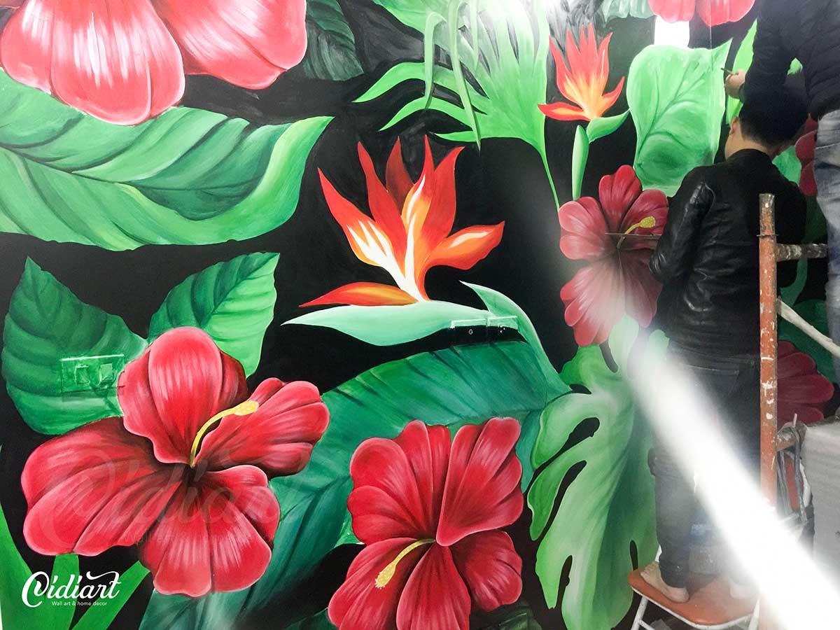 Vẽ Tranh Tường Phòng Khách - Tropical Floral 1