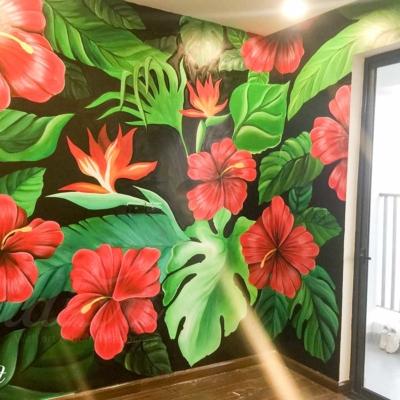 Vẽ Tranh Tường Phòng Khách - Tropical Floral 8