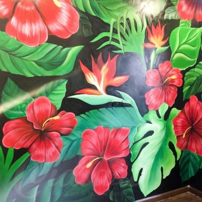 Vẽ Tranh Tường Phòng Khách - Tropical Floral 9