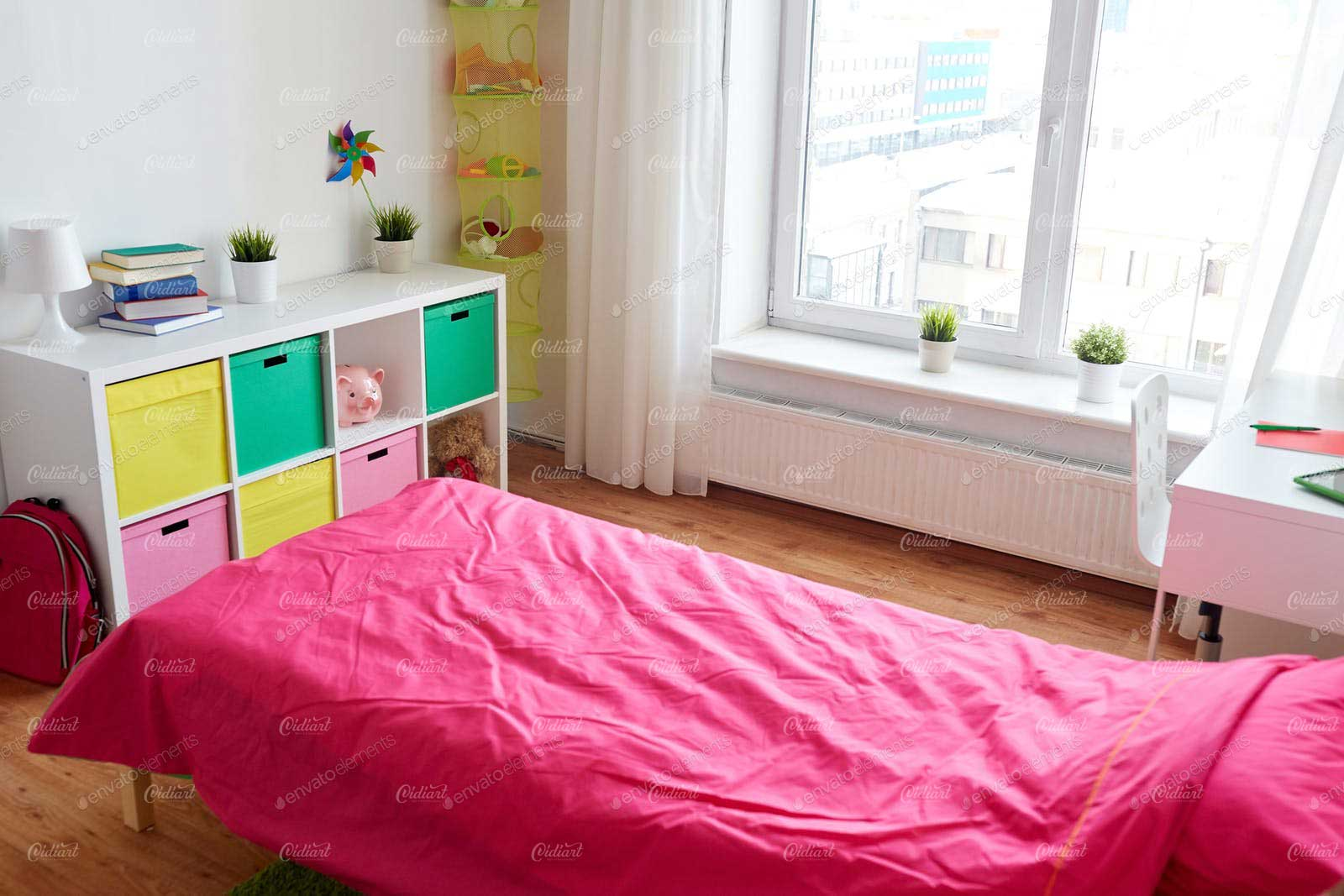 Giường Phòng ngủ cho bé với màu hồng đáng yêu