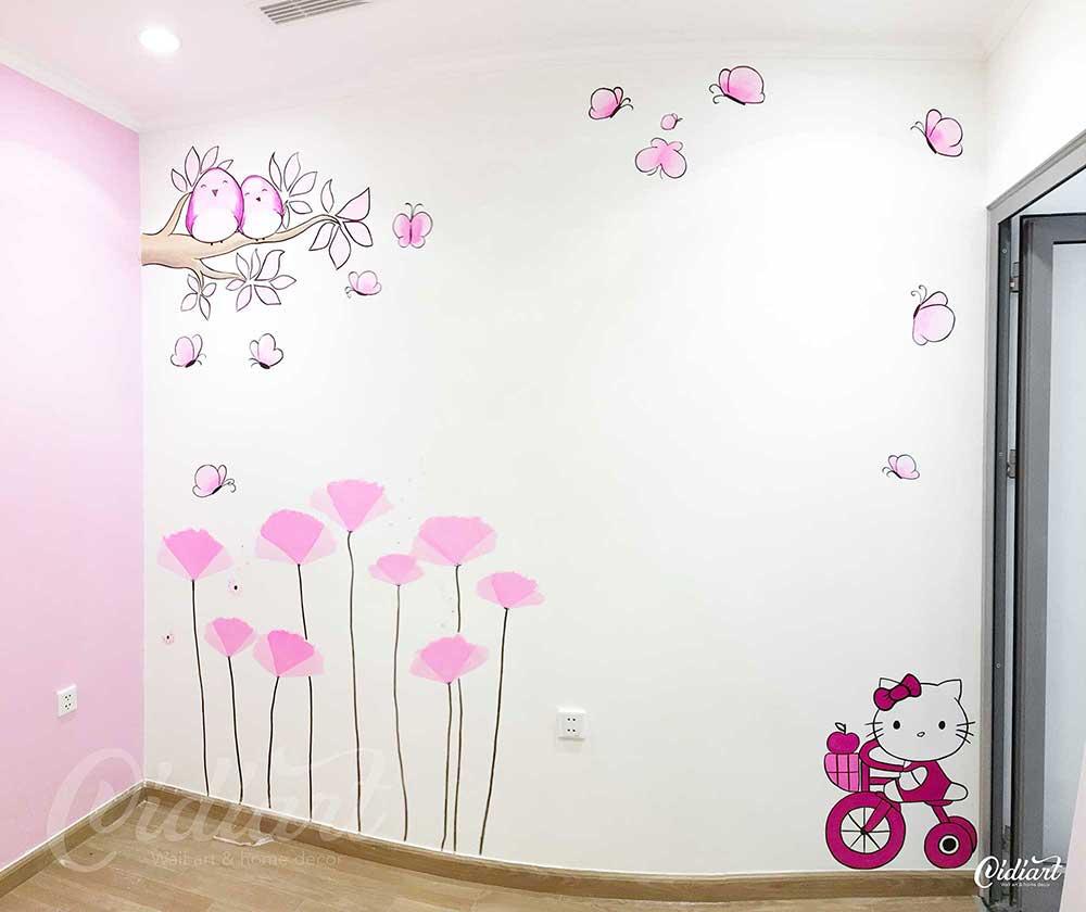 Vẽ tranh tường phòng cho bé gái