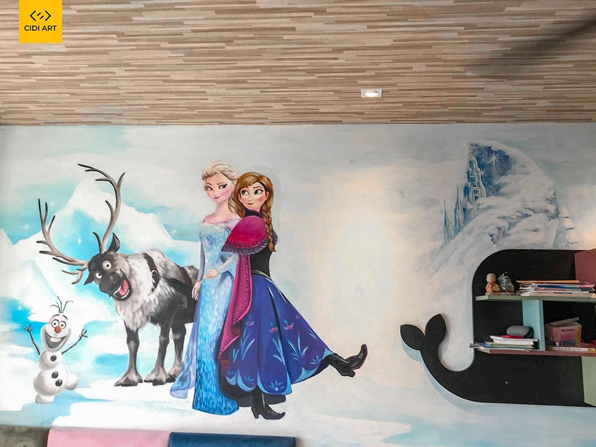 Vẽ tranh tường phòng em bé chung cư An Bình 1