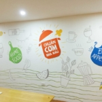 Vẽ tranh tường nhà ăn văn phòng công ty 9