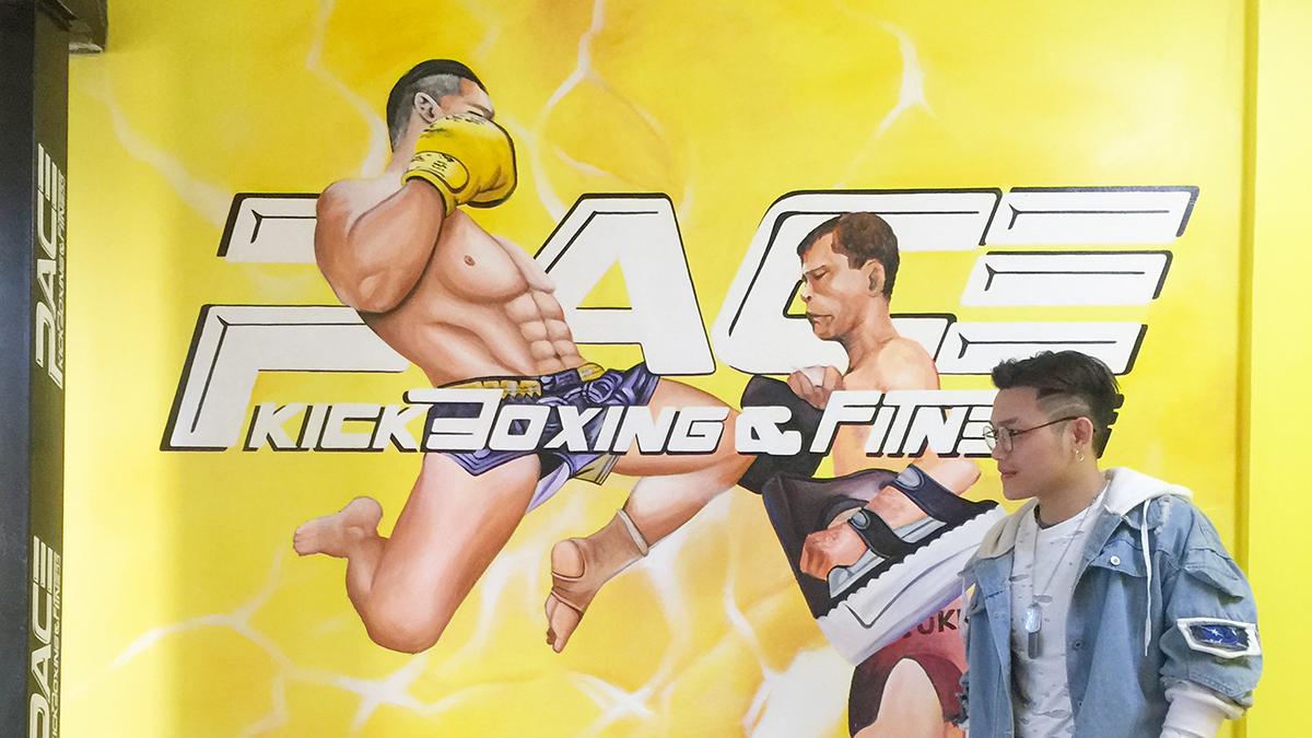 Vẽ tranh tường trung tâm Pace kickboxing & Fitness 1