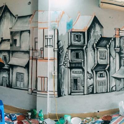 Vẽ tranh tường quán cafe LẠ 12