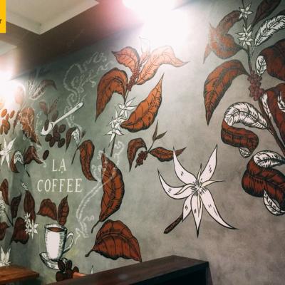 Vẽ tranh tường quán cafe LẠ 9