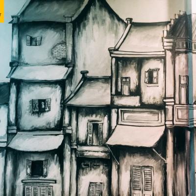 Vẽ tranh tường quán cafe LẠ 8