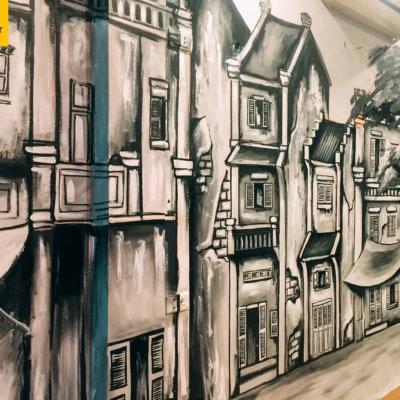 Vẽ tranh tường quán cafe LẠ 7