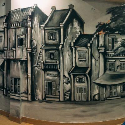 Vẽ tranh tường quán cafe LẠ 6