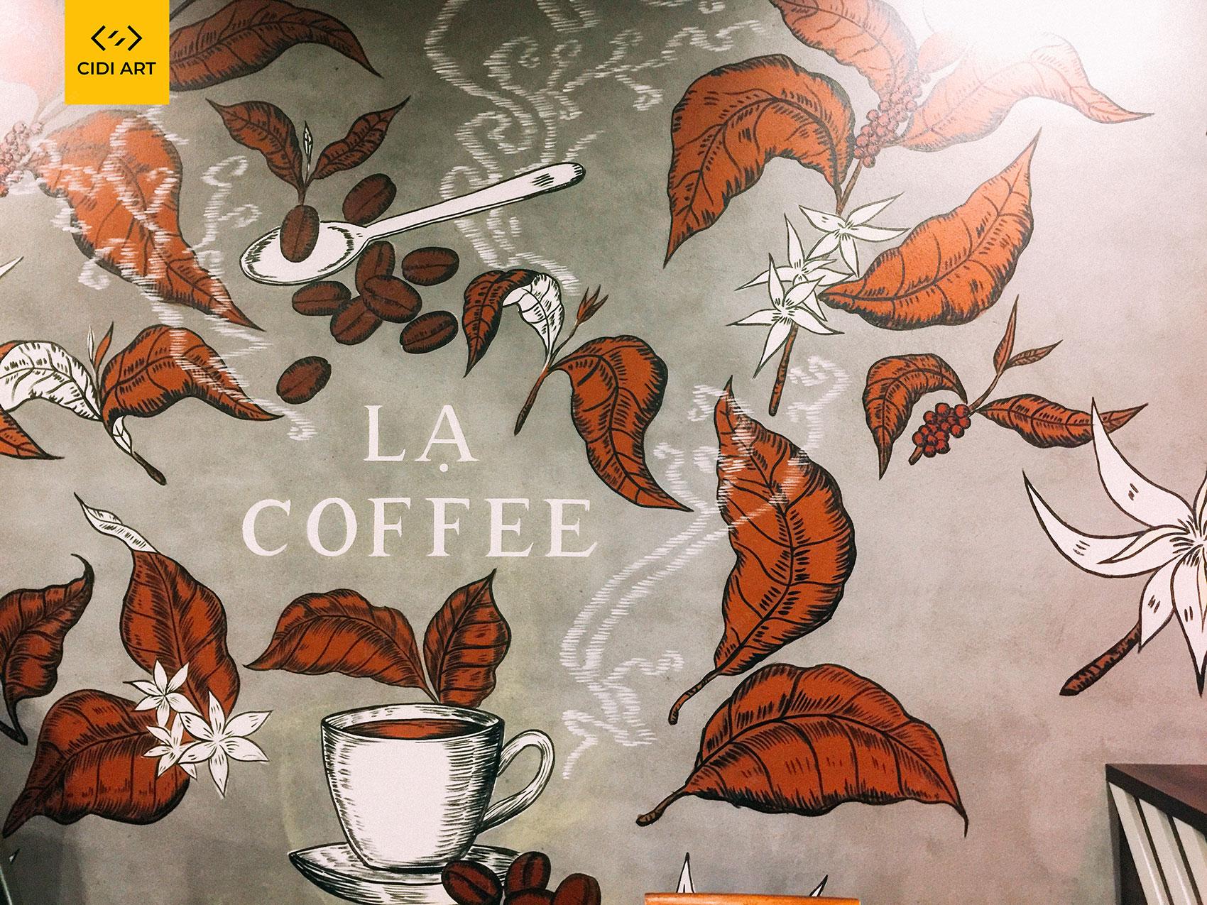 Vẽ tranh tường quán cafe LẠ 1