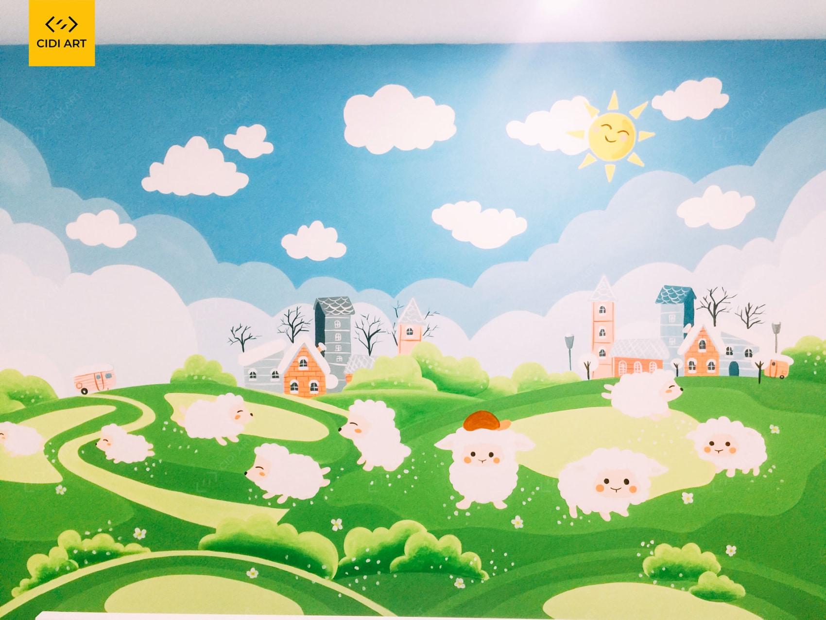 Vẽ tranh tường phòng em bé - A4 An Bình City 1