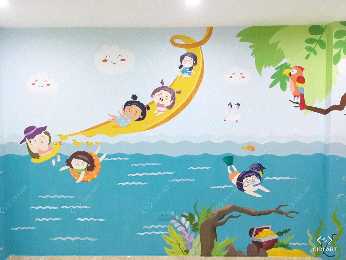 Vẽ tranh tường mầm non 8