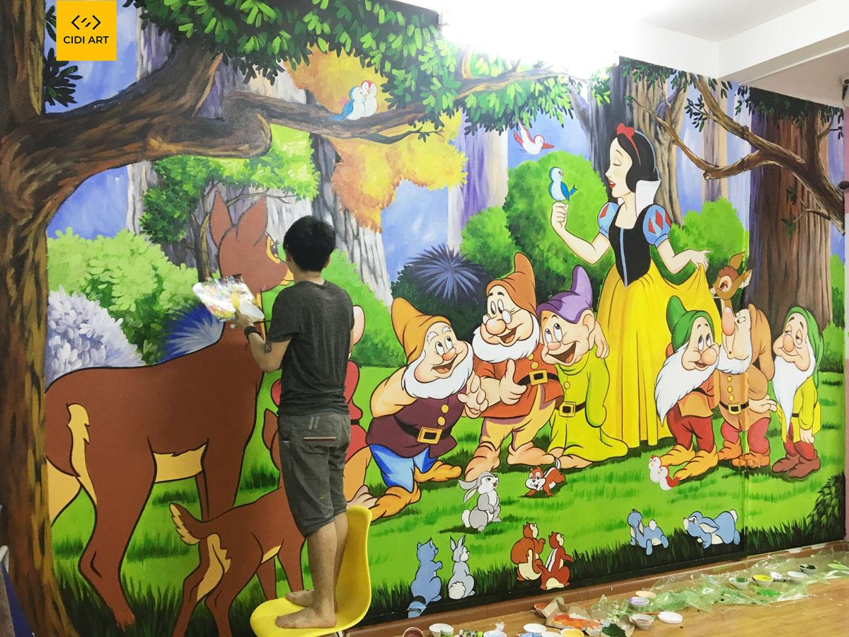 Vẽ tranh tường mầm non 7