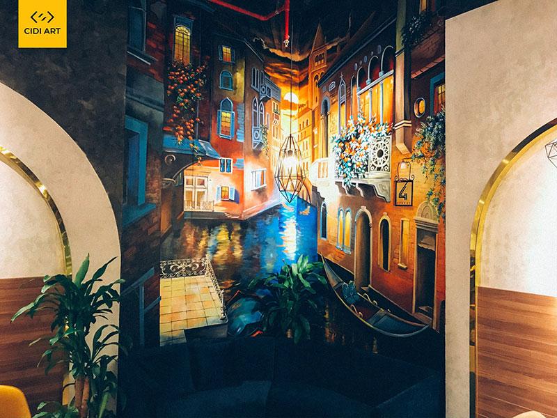 Vẽ tranh tường quán cafe, nhà hàng, trung tâm thương mại